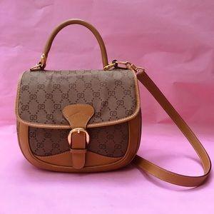 Vintage tan Gucci canvas/leather bag